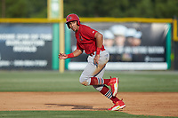 Dariel Gomez (25) of the Johnson City Cardinals takes off for second base during the game against the Burlington Royals at Burlington Athletic Stadium on July 15, 2018 in Burlington, North Carolina. The Cardinals defeated the Royals 7-6.  (Brian Westerholt/Four Seam Images)