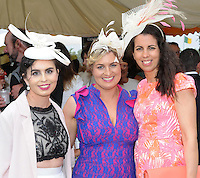 Pictured enjoying the summer fayre on the Ross Hotel / Lane Bar Champagne &amp; Cocktail Marquee at Killarney Races ladies Day on Thursday were from left, Mairead and Elaine O'Connor, Kiskeam and Therese Counihan, Killarney<br /> Picture by Don MacMonagle<br /> <br /> <br /> PR Photo from Ross Hotel