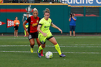 Rochester, NY - Saturday July 09, 2016: Seattle Reign FC midfielder Kim Little (8), Western New York Flash midfielder Lianne Sanderson (10) during a regular season National Women's Soccer League (NWSL) match between the Western New York Flash and the Seattle Reign FC at Frontier Field.