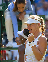 London, England, 6 th. July, 2018, Tennis,  Wimbledon, Womans singel third round, Kiki Bertens (NED) after her win over Venus Williams (USA) (background)<br /> Photo: Henk Koster/tennisimages.com
