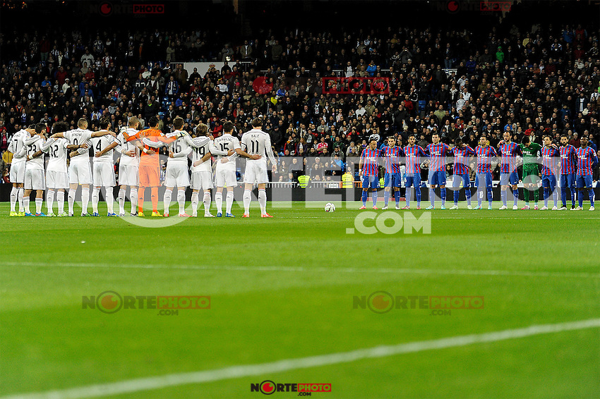 Real Madrid´s players and Levante UD´s payers keeps a silence minute during 2014-15 La Liga match between Real Madrid and Levante UD at Santiago Bernabeu stadium in Madrid, Spain. March 15, 2015. (ALTERPHOTOS/Luis Fernandez) /NORTEphoto.com