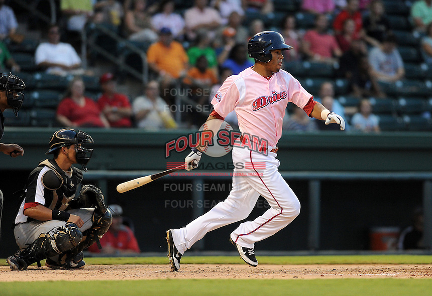 Right fielder Henry Ramos (51) of the Greenville Drive in a game against the Hickory Crawdads on Sunday, September 2, 2012, at Fluor Field at the West End in Greenville, South Carolina. Hickory won, 8-4. (Tom Priddy/Four Seam Images)