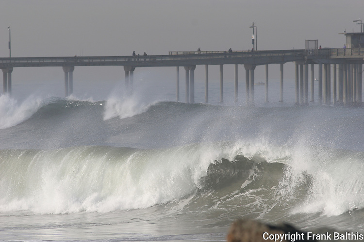 Large winter surf at Pacific Beach