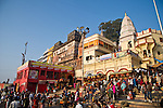 Crowds on the ghats at the Ganges River in Varanasi, Uttar Pradesh, India