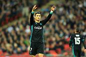 1st November 2017, Wembley Stadium, London, England; UEFA Champions League, Tottenham Hotspur versus Real Madrid; Cristiano Ronaldo of Real Madrid celebrates scoring a late consolation goal