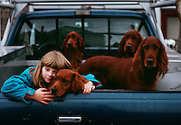 Check to cheek with a belled dog, a young girl waits in the back of a truck with the family's Irish Setters.