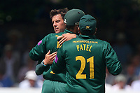 Steven Mullaney of Notts is congratulated by his team mates after taking the wicket of Varun Chopra during Essex Eagles vs Notts Outlaws, Royal London One-Day Cup Semi-Final Cricket at The Cloudfm County Ground on 16th June 2017