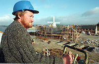 JEANNIE JOHNSTON SHIP-TRALEE.Ship-wright foreman Ciaran O'Regan overseeing  the construction of the Jeanie Johnston ship at Blennerville, Tralee yesterday..Picture by Don MacMonagle