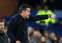 29th October 2019; Goodison Park, Liverpool, Merseyside, England; English Football League Cup, Carabao Cup Football, Everton versus Watford; Everton Manager Marco Silva issues directions to his team from the touchline - Strictly Editorial Use Only. No use with unauthorized audio, video, data, fixture lists, club/league logos or 'live' services. Online in-match use limited to 120 images, no video emulation. No use in betting, games or single club/league/player publications