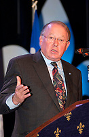 Montreal, Dec 2001<br /> <br /> Quebec Premier and leader of the Parti Quebecois ; Bernard Landry <br /> speak at a rallye in favor of Quebec independance, Dec 2nd 2001 in Montreal, CANADA<br /> The option of Quebec's  independance has already been rejected in 3 different referendums
