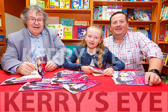 "Book Signing: Gabriel Fitzmaurice, Moyvane signing his new book ""Katie"" with Katie Crowley & Armel Whyte at Woulfe's book shop, Listowel on Saturday last."