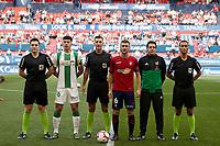Captains of both teams and the 3 referees before during the Spanish football of La Liga 123, match between CA Osasuna and Cordoba CF at the Sadar stadium, in Pamplona (Navarra), Spain, on Saturday, October 13, 2018.