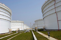 Zhenhai national strategic oil reserve base, one of four national strategic oil reserve bases which started construction in 2003, in Ningbo, Zhejiang province, China. .