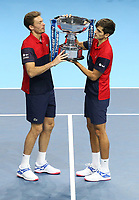 17th November 2019; O2 Arena, London, England; Nitto ATP Tennis Finals; Pierre-Hugues Herbert (FRA) and Nicolas Mahut (FRA) with Winners trophy after the Doubles Final match - Editorial Use