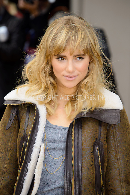 WWW.ACEPIXS.COM<br /> <br /> US Sales Only<br /> <br /> September 16 2013, London<br /> <br /> Suki Waterhouse arriving at the Burberry Prorsum show at London Fashion Week SS14 at Kensington Gardens on September 16, 2013 in London, England<br /> <br /> ACE Pictures, Inc.<br /> tel: 646 769 0430<br /> Email: info@acepixs.com<br /> www.acepixs.com