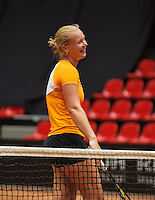 The Netherlands, Den Bosch, 16.04.2014. Fed Cup Netherlands-Japan, practice  Kiki Bertens (NED)<br /> Photo:Tennisimages/Henk Koster