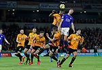 Willy Boly of Wolverhampton Wanderers challenges Jonny Evans of Leicester Cityduring the Premier League match at Molineux, Wolverhampton. Picture date: 14th February 2020. Picture credit should read: Darren Staples/Sportimage