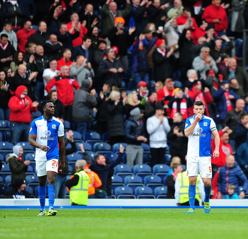 Blackburn Rovers' Hope Akpan, left, and Blackburn Rovers' Grant Hanley react after their side conceded the first goal<br /> <br /> Photographer Chris Vaughan/CameraSport<br /> <br /> Football - The Football League Sky Bet Championship - Blackburn Rovers v Bristol City - Saturday 23rd April 2016 - Ewood Park - Blackburn <br /> <br /> &copy; CameraSport - 43 Linden Ave. Countesthorpe. Leicester. England. LE8 5PG - Tel: +44 (0) 116 277 4147 - admin@camerasport.com - www.camerasport.com