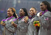 11.08.2012, Olympia Stadion, London, GBR, Olympia 2012, 4 x 400m Staffel, Damen, Podium, im Bild gold Medaille Team USA DeeDee Trotter (USA), Allyson Felix (USA), Francena Mccorory (USA), Sanya Richards-Ross (USA)  // gold medal Team USA DeeDee Trotter (USA), Allyson Felix (USA), Francena Mccorory (USA), Sanya Richards-Ross (USA) during Women's 4 x 400m Relay Podium at the 2012 Summer Olympics at Olympic Stadium, London, United Kingdom on 2012/08/11. EXPA Pictures © 2012, PhotoCredit: EXPA/ Johann Groder .Olimpiadi Londra 2012.London 2012 Olympic Games.foto Insidefoto - Italy ONLY