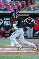 Lansing Lugnuts outfielder Josh Almonte (24) follows through with his swing during a Midwest League game against the Wisconsin Timber Rattlers on April 29th, 2016 at Fox Cities Stadium in Appleton, Wisconsin.  Wisconsin defeated Lansing 2-0. (Brad Krause/Four Seam Images)