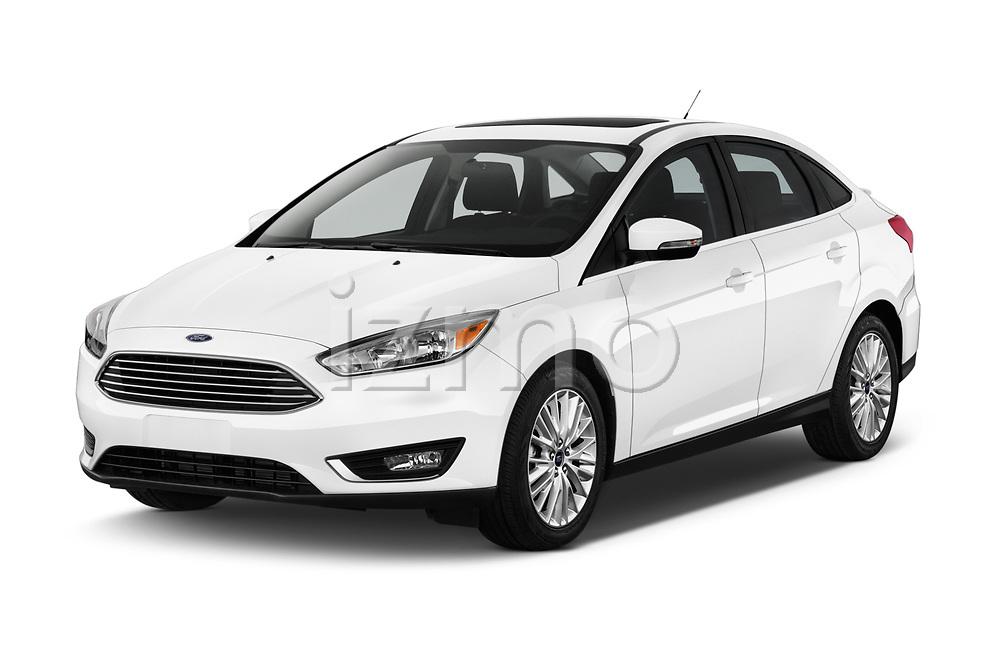 2015 Ford Focus Titanium 4 Door Sedan Angular Front stock photos of front three quarter view