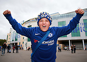 30th September 2017, Stamford Bridge, London, England; EPL Premier League football, Chelsea versus Manchester City; Young Chelsea fan poses outside Stamford Bridge before kick off