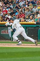 Angel Rosa (8) of the Salt Lake Bees at bat against the Tacoma Rainiers in Pacific Coast League action at Smith's Ballpark on September 1, 2015 in Salt Lake City, Utah. The Bees defeated the Rainiers 10-1.  (Stephen Smith/Four Seam Images)