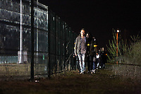 Pictured: Players walk around the Cardiff Athletics Stadium. Saturday 29 March 2014<br />