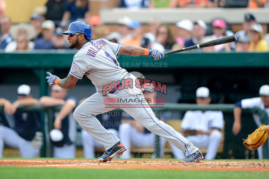 New York Mets second baseman Jordany Valdespin #1 during a Spring Training game against the Detroit Tigers at Joker Marchant Stadium on March 11, 2013 in Lakeland, Florida.  New York defeated Detroit 11-0.  (Mike Janes/Four Seam Images)