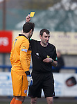 Stirling keeper Sam Filler booked by ref Kevin Graham
