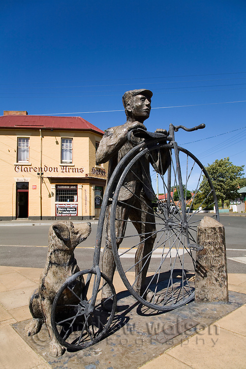 Penny farthing statue and Clarendon Arms Hotel in Evandale.  The historic town hosts the annual National Penny Parthing Championships each February.  Evandale, Tasmania, Australia