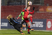 Bridgeview, IL - Saturday March 31, 2018: Alyssa Mautz, Meghan Klingenberg during a regular season National Women's Soccer League (NWSL) match between the Chicago Red Stars and the Portland Thorns FC at Toyota Park.