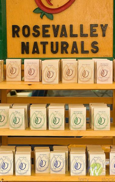 Homemade Natural Soap Display. Rose Valley Naturals.
