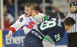 Dec 28, 2016; Spokane, WA, USA; Spokane Chiefs defenseman Tyson Helgesen (6) exchanges punches with Seattle Thunderbirds right wing Keegan Kolesar (28) during the first period at the Spokane Arena. Mandatory Credit: James Snook