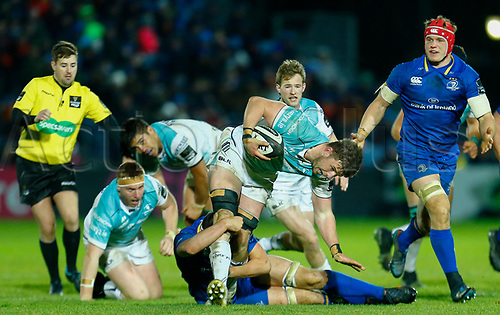 1st January 2018, RDS Arena, Dublin, Ireland; Guinness Pro14 rugby, Leinster versus Connacht; Eoghan Masterson of Connacht is tackled by Max Deegan of Leinster
