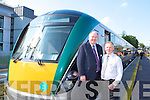 Andrew Roche Iarnroid Eireann and Killarney Station master Michael Leahy with the new train that took the Kerry team to Dublin on Saturday   Copyright Kerry's Eye 2008