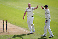 PICTURE BY VAUGHN RIDLEY/SWPIX.COM - Cricket - County Championship Div 2 - Yorkshire v Essex, Day 3 - Headingley, Leeds, England - 21/04/12 - Yorkshire's Steve Patterson celebrates with Anthony McGrath (L) after Patterson ran out Essex's Tymal Mills.