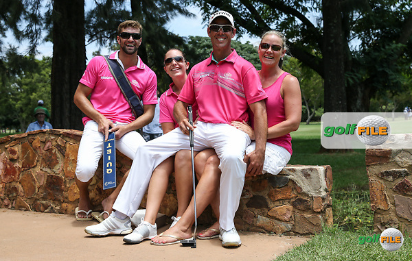 Jaco Van Zyl (RSA) joined by his fan club during the Final Round of the 2016 Tshwane Open, played at the Pretoria Country Club, Waterkloof, Pretoria, South Africa.  14/02/2016. Picture: Golffile | David Lloyd<br /> <br /> All photos usage must carry mandatory copyright credit (&copy; Golffile | David Lloyd)
