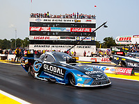 Aug 17, 2018; Brainerd, MN, USA; NHRA funny car driver Shawn Langdon during qualifying for the Lucas Oil Nationals at Brainerd International Raceway. Mandatory Credit: Mark J. Rebilas-USA TODAY Sports