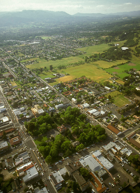 Aerial of town of Sonoma, Ca
