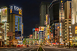 Looking down main street intersection in Akihabara known as Electric Town in Tokyo, Japan