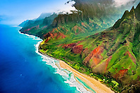 Kalalau Valley and Kalalau Beach, the end of the 11 mile trail, Na Pali coast, Kauai, Hawaii, USA, Pacific Ocean