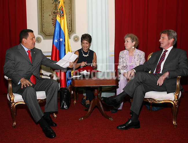 Venezuelan President Hugo Chavez and Bernard Kouchner, France Foreign Minister, during a meeting in Miraflores Palace in Caracas. Koucher is in  South America with the hope of relaunching negotiations for the liberation of Ingrid Betancourt