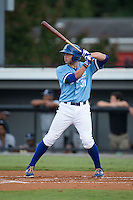 Brandon Dulin (31) of the Burlington Royals at bat against the Pulaski Yankees at Burlington Athletic Park on August 6, 2015 in Burlington, North Carolina.  The Royals defeated the Yankees 1-0. (Brian Westerholt/Four Seam Images)