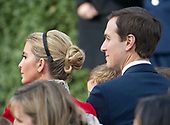 """Ivanka Trump and Jared Kushner await the arrival of United States President Donald J. Trump and First Lady Melania Trump prior to the National Thanksgiving Turkey Pardoning Ceremony in the Rose Garden of the White House in Washington, DC on Monday, November 20, 2017.  According to the White House Historical Association, the ceremony originated in 1863 when US President Abraham Lincoln's granted clemency to a turkey. The tradition jelled in 1989 when US President George HW Bush stated """"But let me assure you, and this fine tom turkey, that he will not end up on anyone's dinner table, not this guy -- he's granted a Presidential pardon as of right now -- and allow him to live out his days on a children's farm not far from here.""""<br /> Credit: Ron Sachs / CNP"""