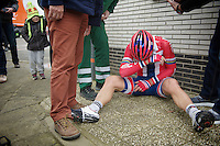 Thor Hushovd (NOR) just crashed in the peloton and is forced out of the race for fear of a broken arm (which eventually wasn't the case)<br /> <br /> Omloop Het Nieuwsblad 2014