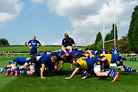 The Bath United forwards in action during the pre-match warm-up. Premiership Rugby Shield match, between Bristol Bears A and Bath United on August 31, 2018 at the Cribbs Causeway Ground in Bristol, England. Photo by: Patrick Khachfe / Onside Images