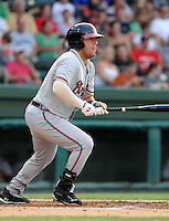 First baseman Chris Garcia (49) of the Rome Braves, Class A affiliate of the Atlanta Braves, in a game against the Greenville Drive on July 18, 2011, at Fluor Field at the West End in Greenville, South Carolina. (Tom Priddy/Four Seam Images)