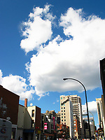 Montreal (Qc) CANADA, July 21, 2007<br /> <br /> clouds in a blue sky in downtown Montreal<br /> photo : (c) images Distribution