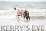 Braving the elements at the Slip to Shore swim as part of the Ballyheigue Summer Festival on Sunday..